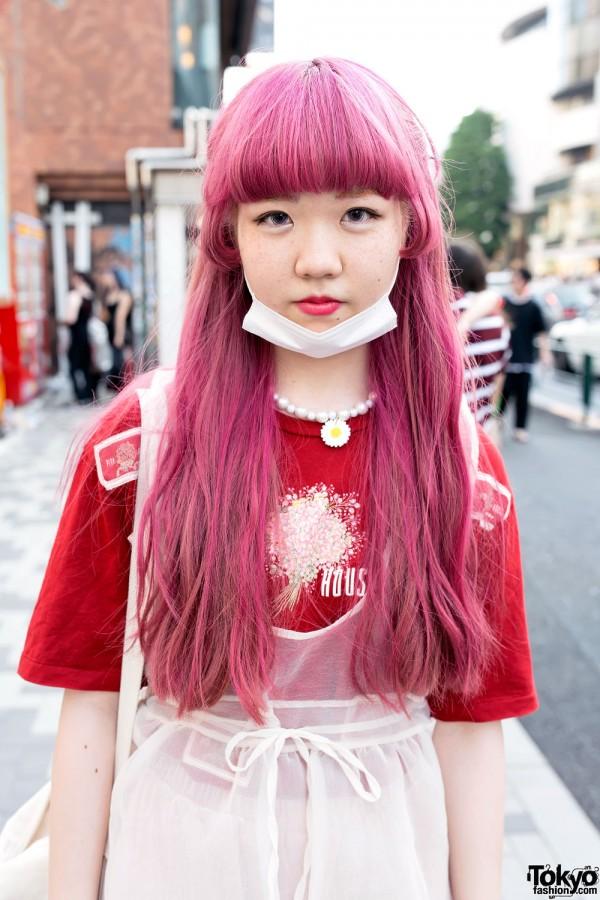 Long Pink Hairstyle in Harajuku
