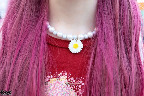 Pink Hair & Flower Choker Necklace