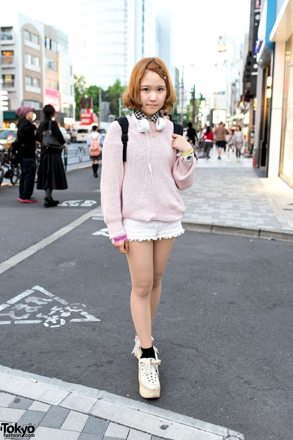 Lace Shorts & Snidel Sweater in Harajuku