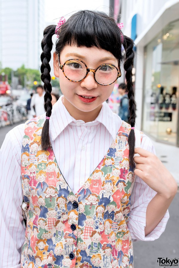 Cute Twin Braids & Vest in Harajuku