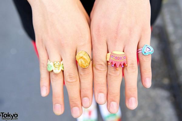 Cute Plastic Rings in Harajuku