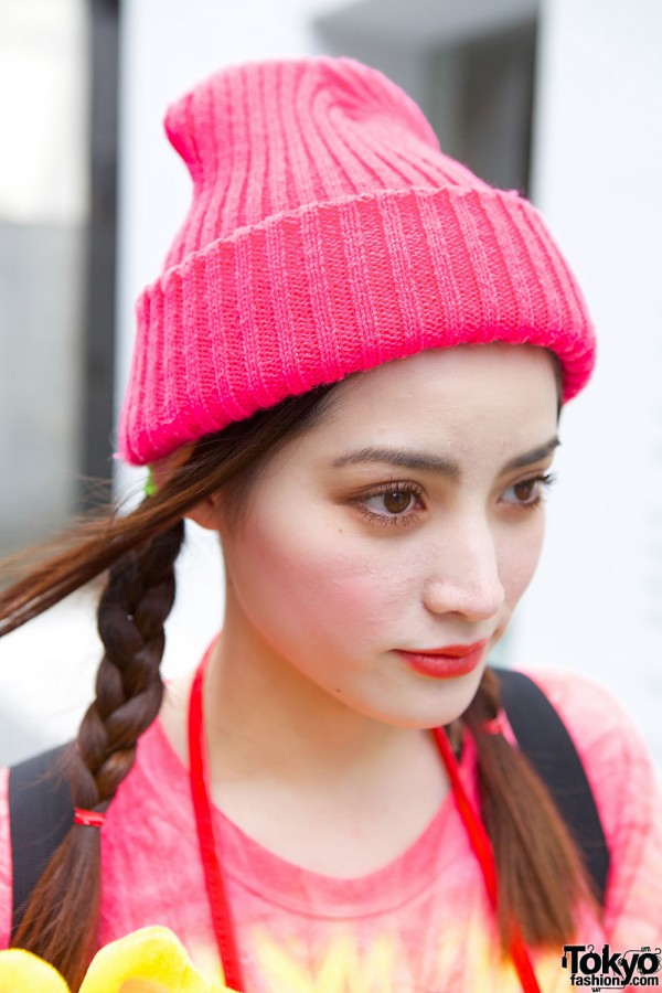 Pink Beanie & Braided Hair