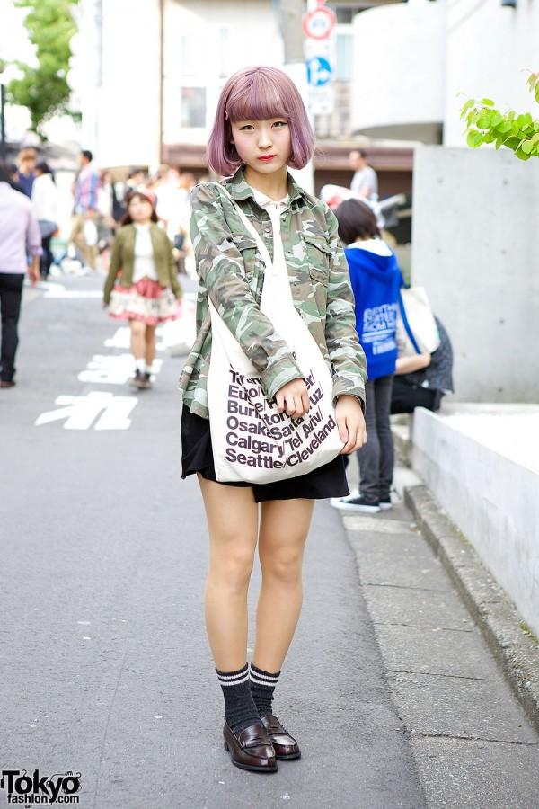 Camouflage Shirt-Jacket & Lilac Hair