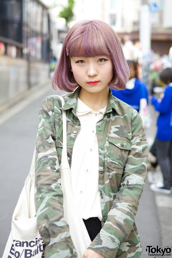 Harajuku Girl With Lilac Hair