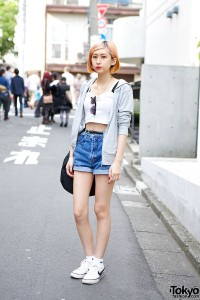High Waist Denim Shorts & Crop Top