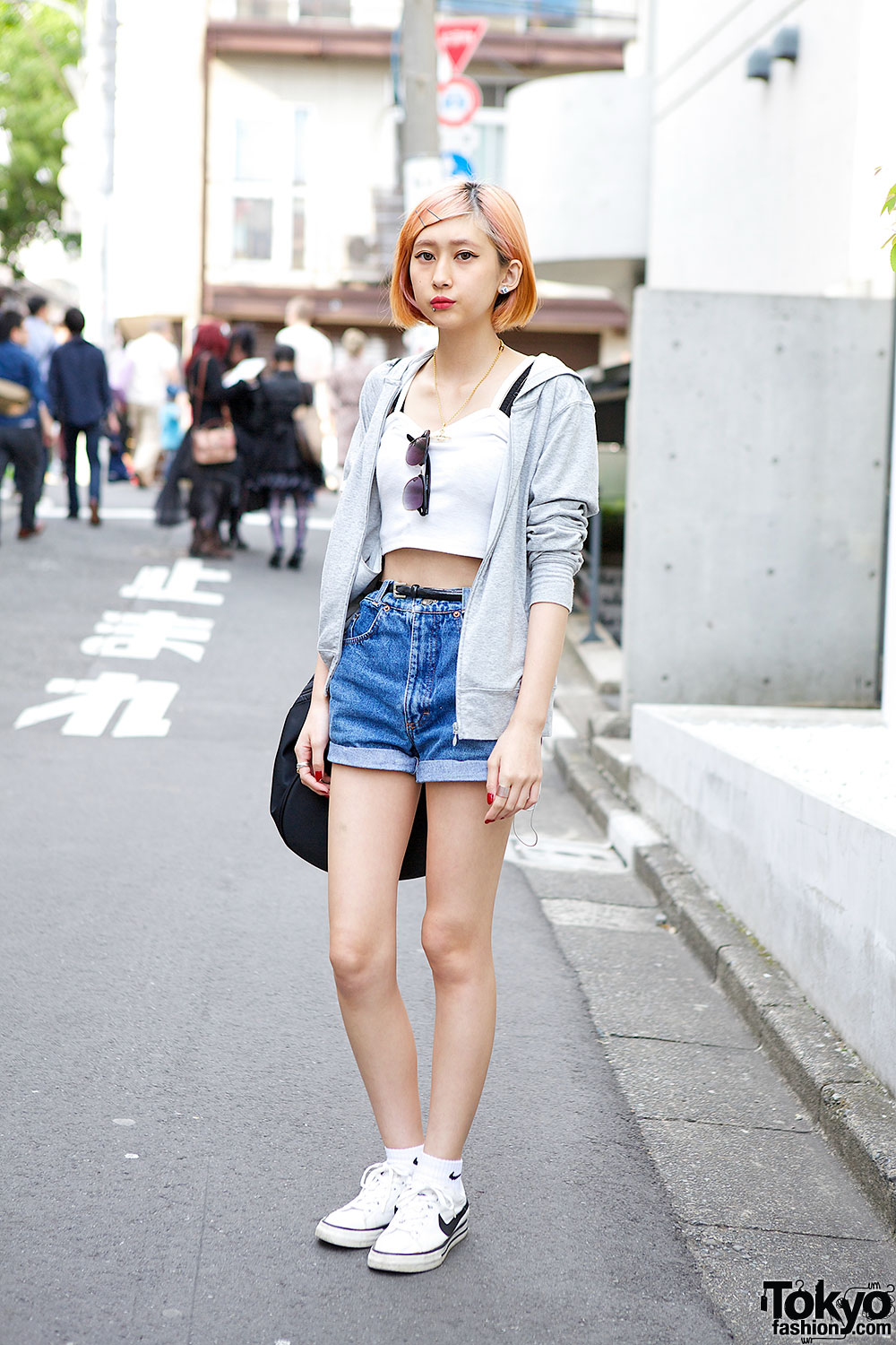 Pastel Hair w/ High Waist Denim Shorts, Crop Top & Fila Bag in ...