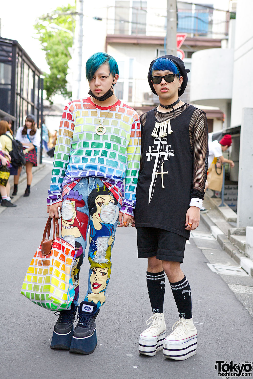 Harajuku guys w blue hair jeremy scott long clothing dominic jones dog ktz Japanese fashion style icon