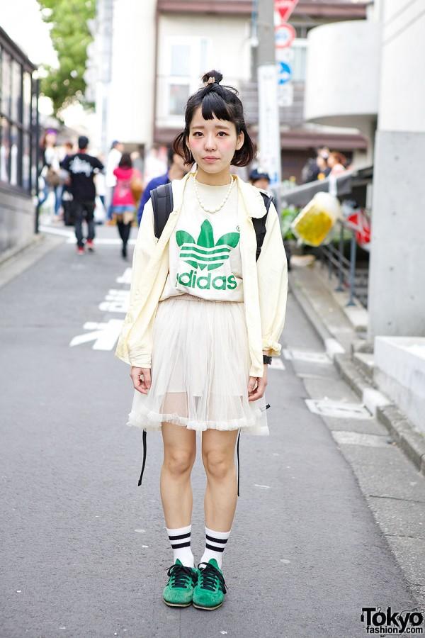 Harajuku Resale Style w/ Sheer Skirt, Adidas & G-Shock Watch