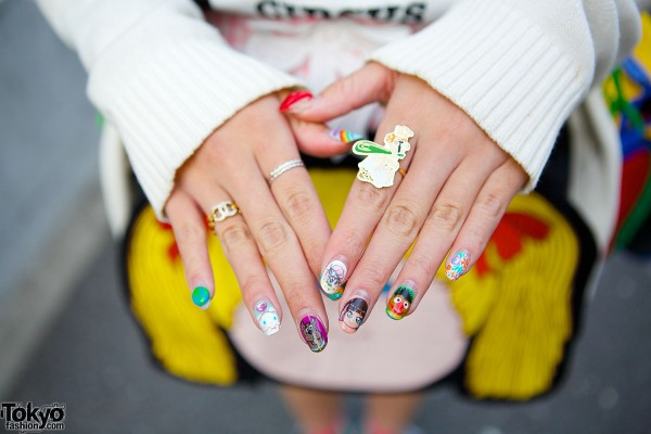 Colorful Harajuku Rings & Nail Art