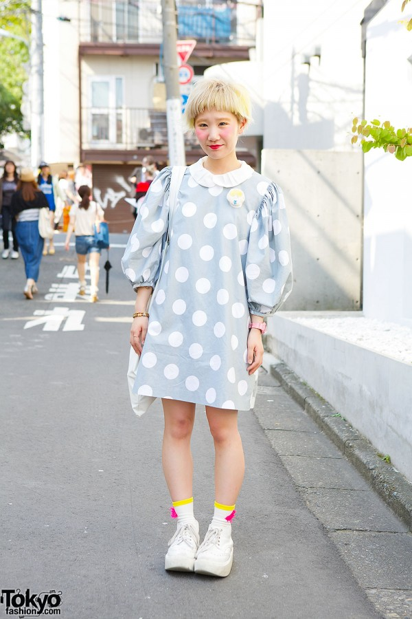 Polka Dot Dress w/ Itazura Tokyo Tote & Tokyo Bopper Shoes