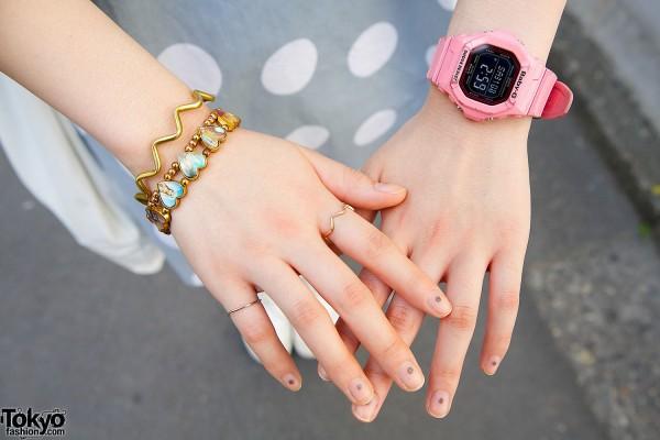 Hearts Bracelet & Pink Watch