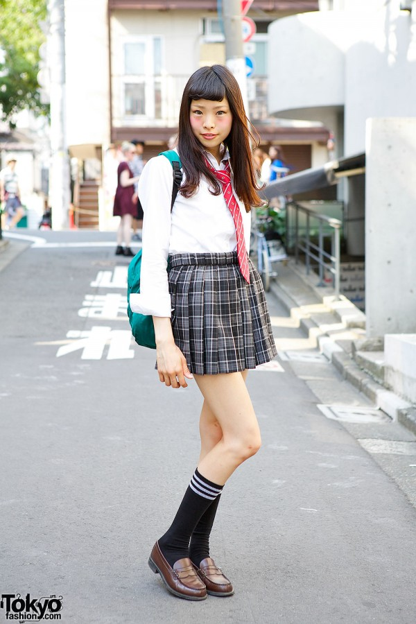 Cute Japanese School Uniform w/ Plaid Skirt, Red Tie & Loafers