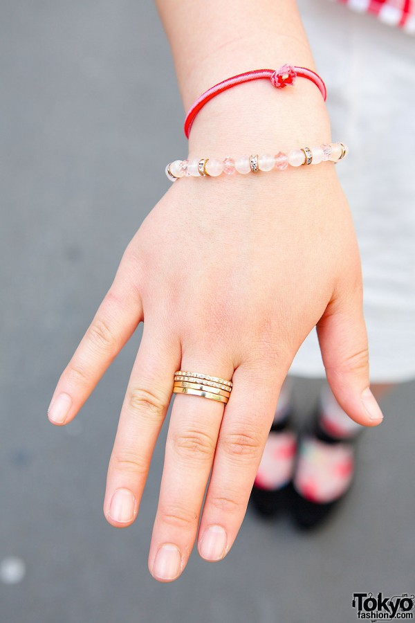 Beads Bracelet & Golden Rings