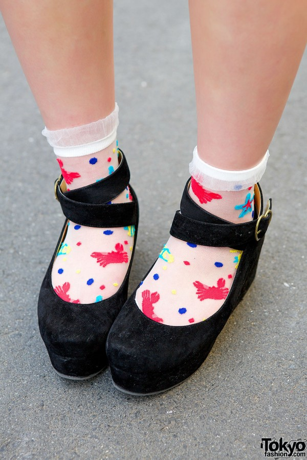 Ankle Strap Shoes & Crab Print Socks