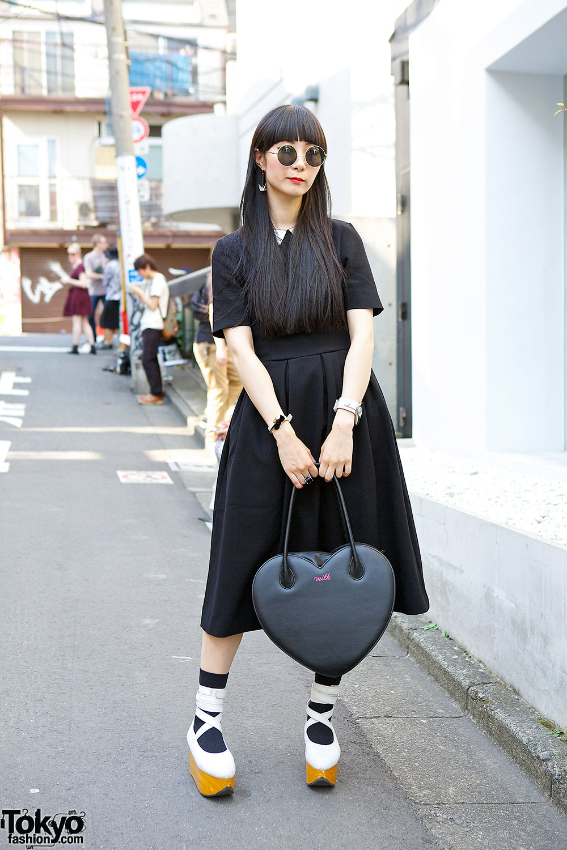 Black H&M Midi Dress in Harajuku
