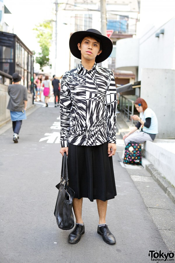 Harajuku Guy in Hat w/ Versace for H&M Shirt, John Galliano Bag & Zara Oxfords