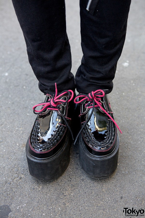 Yosuke Patent Shoes with Pink Laces