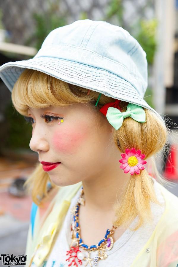 Flower Hair Ties & Denim Hat