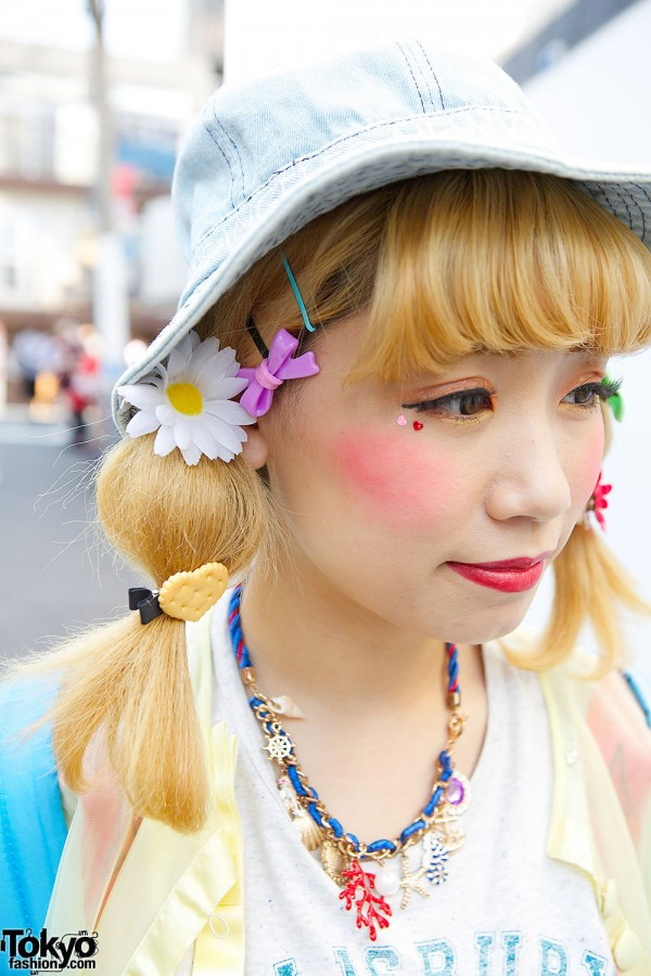 Blond Twin Tails w/ Flowers & Bows