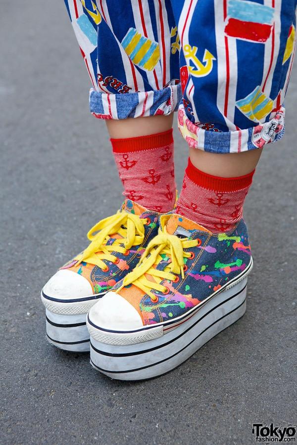 Yosuke Paint Splattered Platform Sneakers
