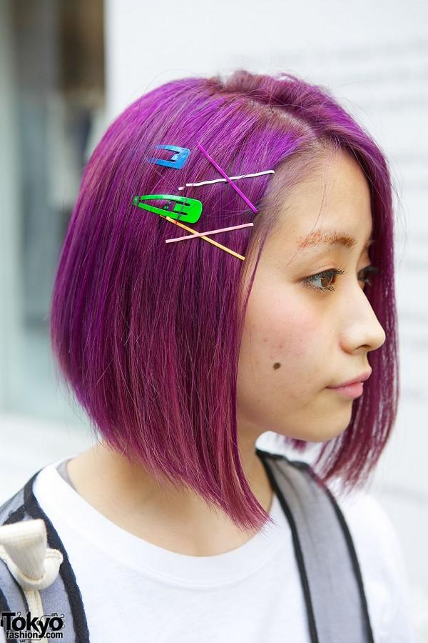 Purple Hair with Bubbles Hair Pins