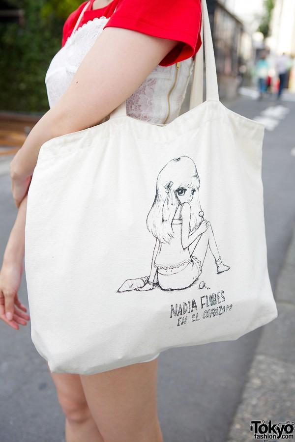 Nadia Harajuku Graphic Tote Bag