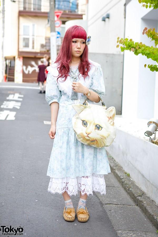 Gunne Sax Dress, Ahcahcum Muchacha Cat Bag & Justin Davis in Harajuku