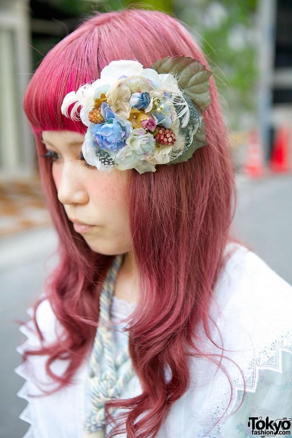 Purple Hair & Flower Accessory