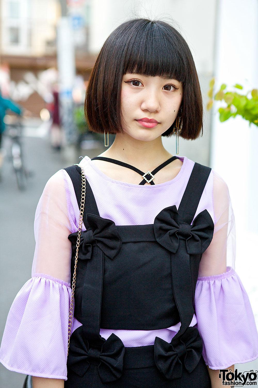 Romantic Standard Bow Dress, Sheer Top & Lace Platforms in Harajuku