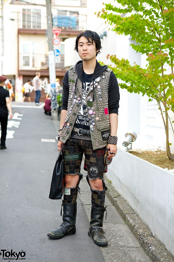Handmade Punk Vest & Patchwork Shorts in Harajuku