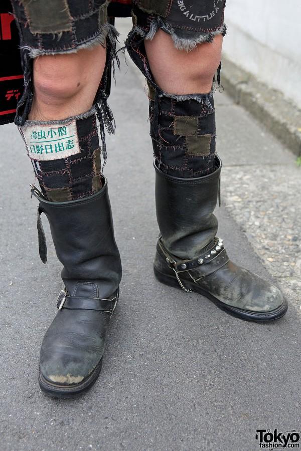 Handmade Patchwork Jeans & Biker Boots
