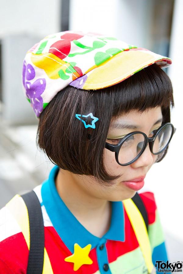 Fruit Print Cap & Round Glasses