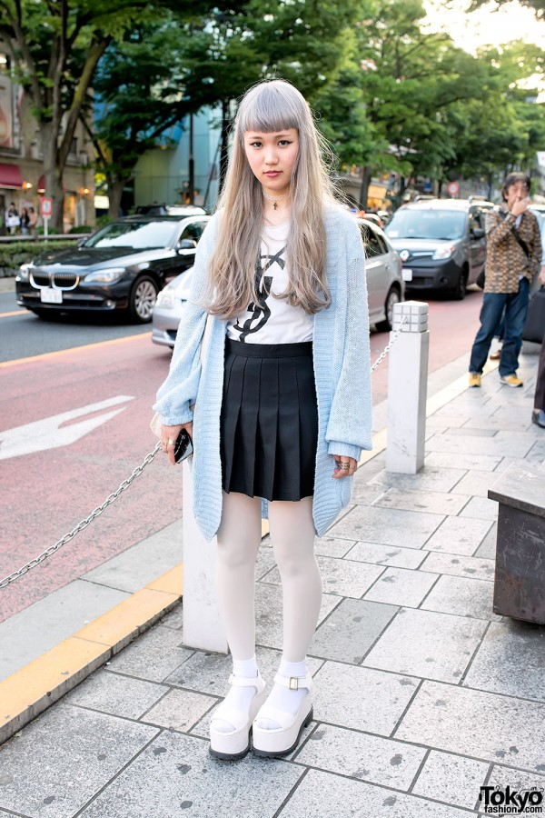 Pastel Hair, YSL Top, Pleated Skirt & LDS Platform Sandals in Harajuku