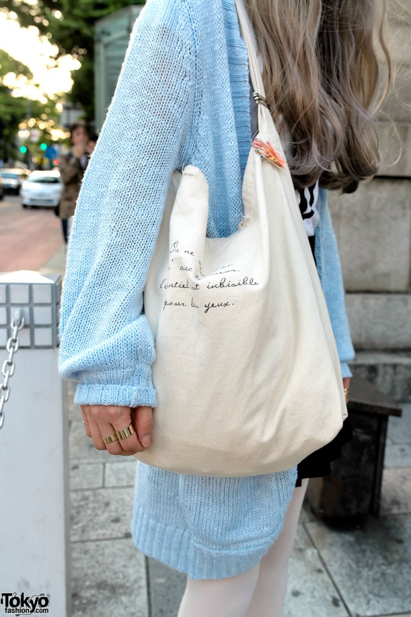 Canvas Tote & Knit Sweater