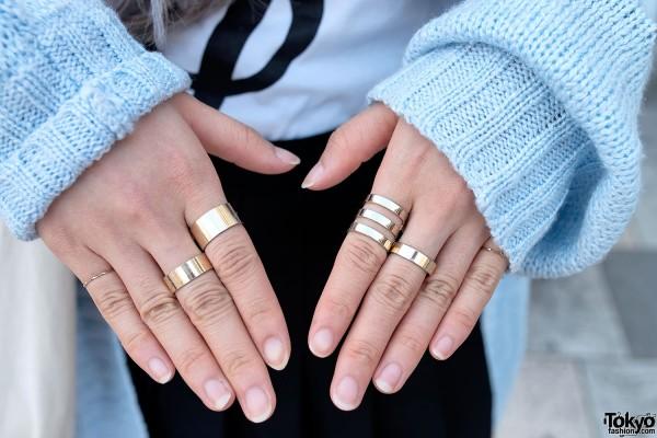Gold Band Rings in Harajuku