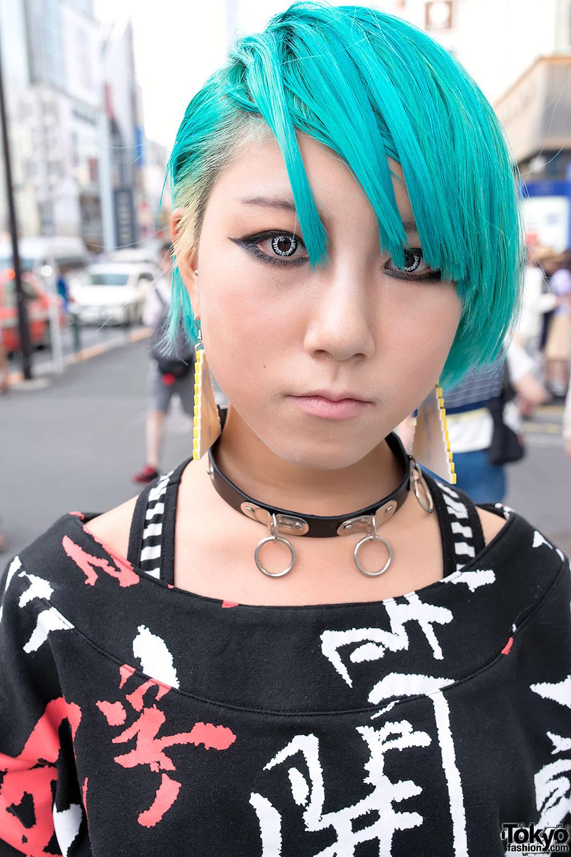 Aqua Hair Galaxxxy Kanji Print Amp Cutout Leggings In Harajuku