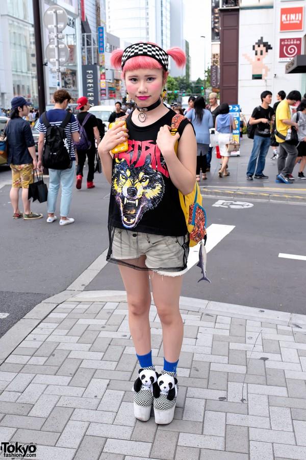 Pink Twintails, Lego Earrings, Sheer Top & Panda Platforms in Harajuku