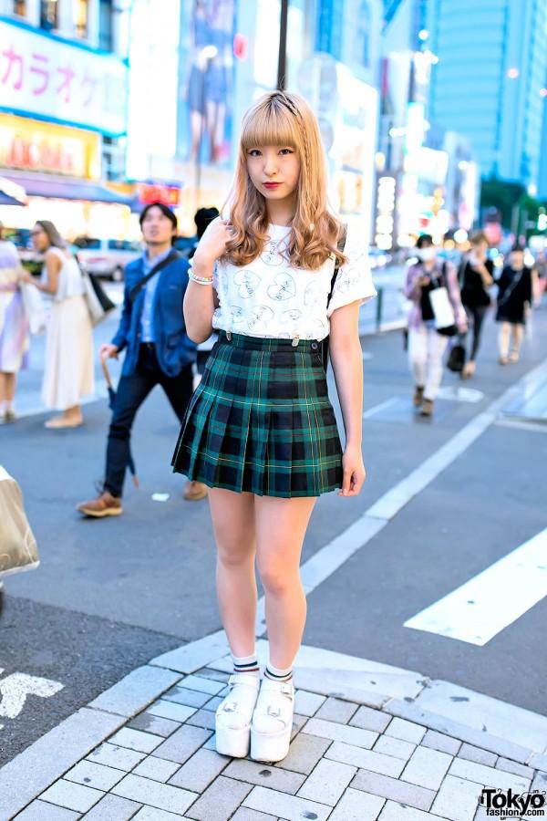 Plaid Pleated Skirt, Morph8ne Top, Moschino Bag  & YRU Platforms