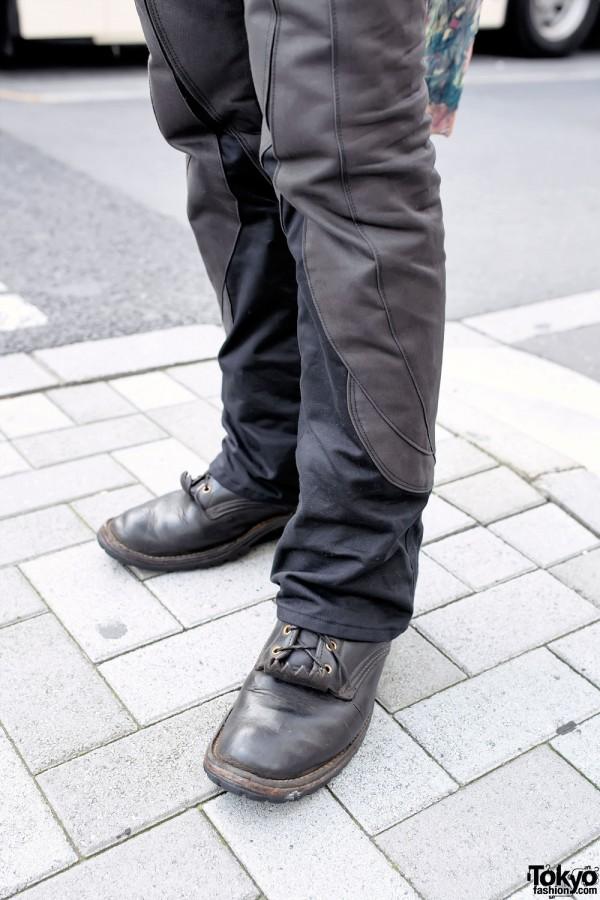 Qosmos Pants & Vintage Leather Boots