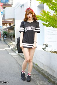 Harajuku Girl in Sports Jersey Dress