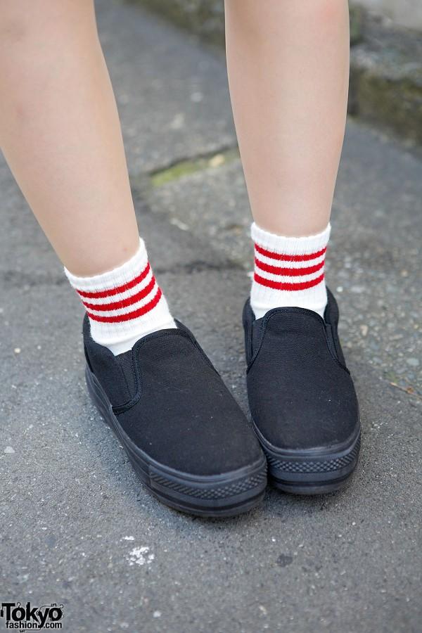 Harajuku Girl W Twin Tails Amp Bandana Sports Jersey Dress Amp Slip Ons