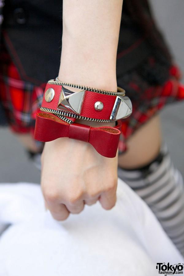 Red Studs & Bow Bracelets
