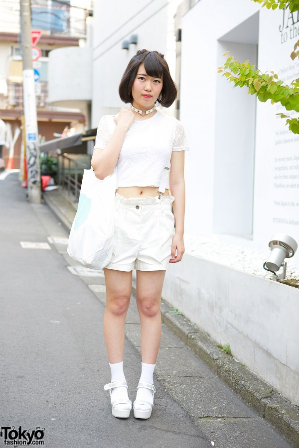 All White Spinns & WEGO Summer Harajuku Style w/ Lace Crop Top & Sandals