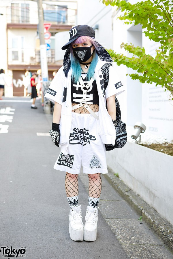 Qiss Qill Designer in Harajuku w/ Pink-Blue Hair, FRESH.I.AM, YRU & Harness