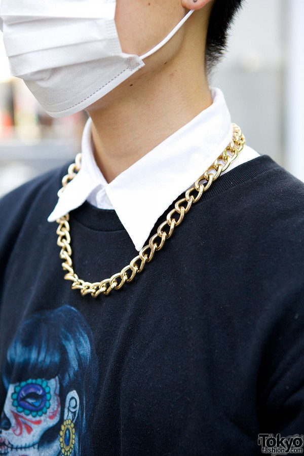 Chain Necklace Over Shirt