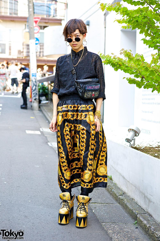 Harajuku Guy's Black & Gold Street Style w/ Fendi Shirt & YRU Platforms