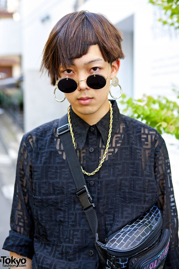 Round Sunglasses & Fendi Shirt
