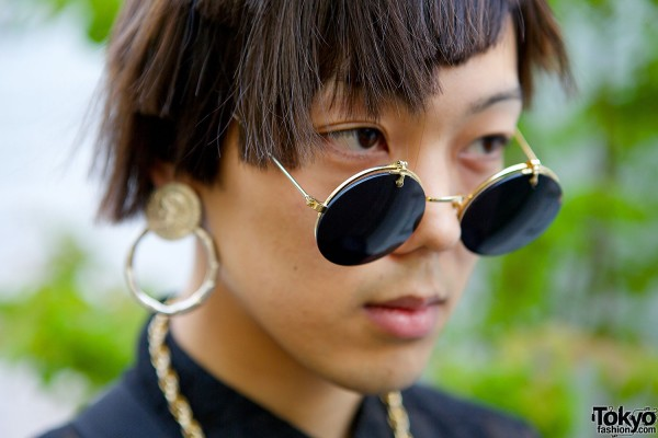 Round Sunglasses & Coin Earrings
