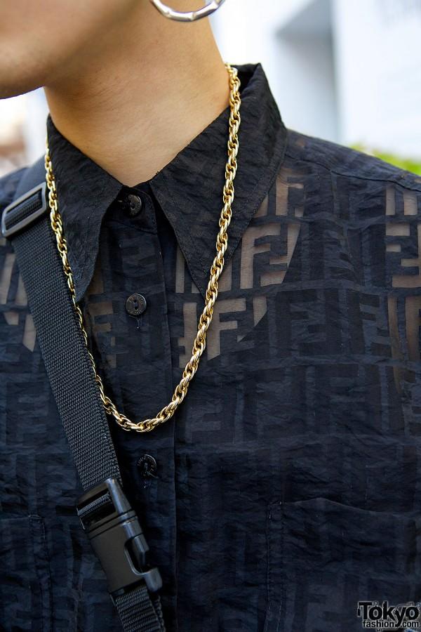 Chain Necklace & Fendi Shirt