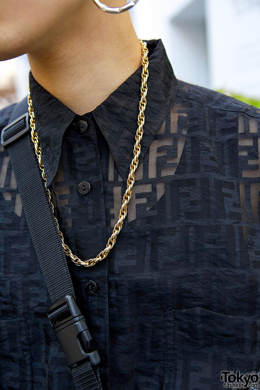 Harajuku Guy S Black Amp Gold Street Style W Fendi Shirt